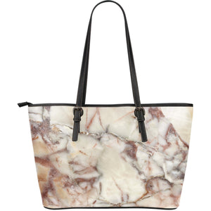 Brown Beige Marble Print Leather Tote Bag GearFrost
