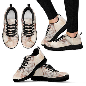 Brown Beige Marble Print Women's Sneakers GearFrost