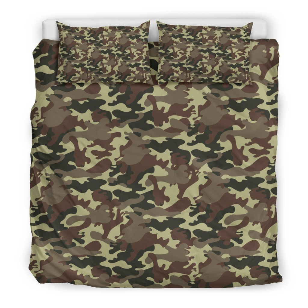 Brown Camouflage Print Duvet Cover Bedding Set GearFrost
