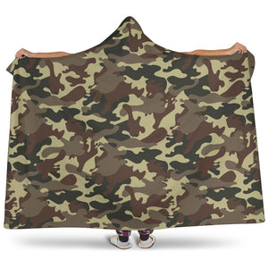Brown Camouflage Print Hooded Blanket GearFrost
