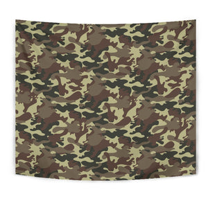 Brown Camouflage Print Wall Tapestry GearFrost