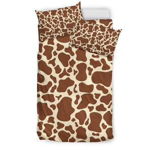 Brown Cow Print Duvet Cover Bedding Set GearFrost