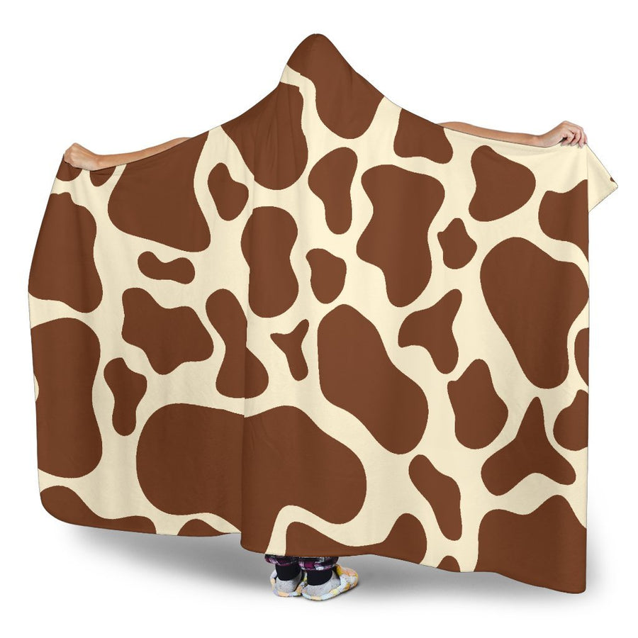 Brown Cow Print Hooded Blanket GearFrost
