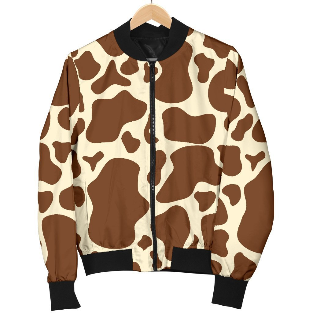 Brown Cow Print Men's Bomber Jacket GearFrost