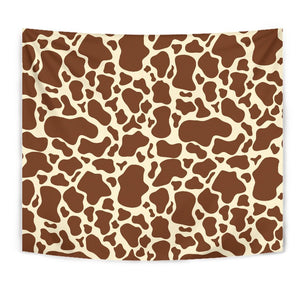 Brown Cow Print Wall Tapestry GearFrost