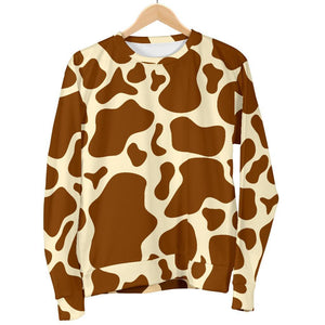 Brown Cow Print Women's Crewneck Sweatshirt GearFrost