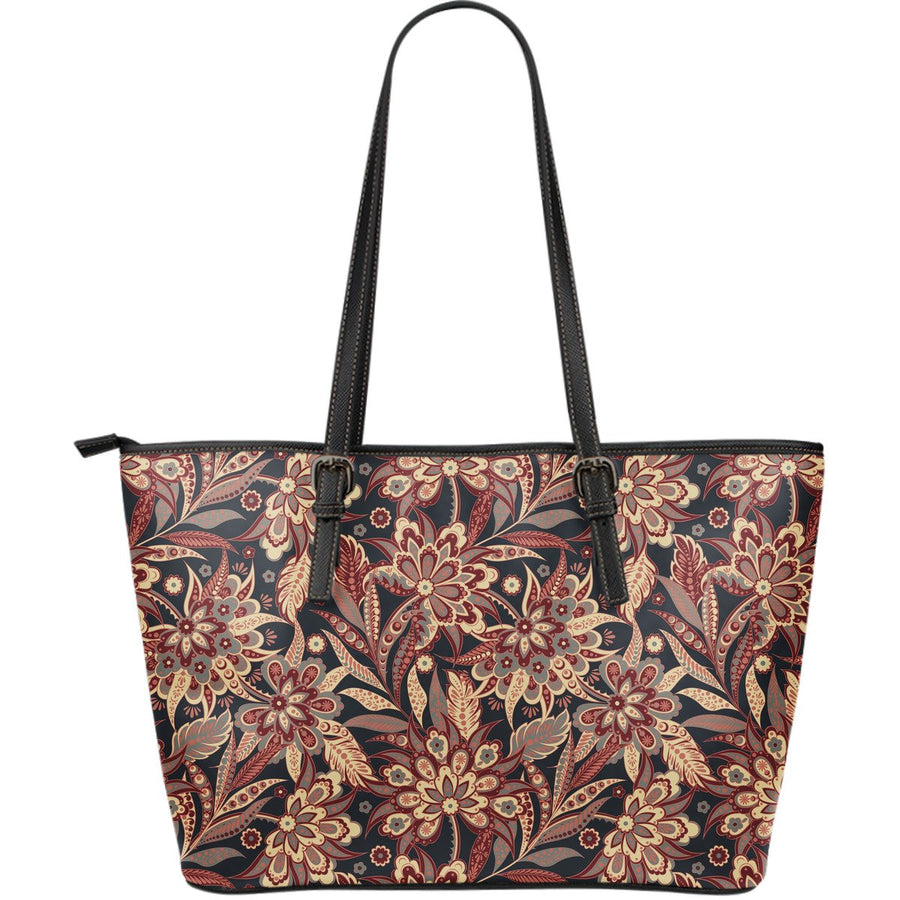 Brown Floral Bohemian Pattern Print Leather Tote Bag GearFrost