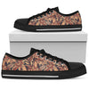 Brown Floral Bohemian Pattern Print Women's Low Top Shoes GearFrost