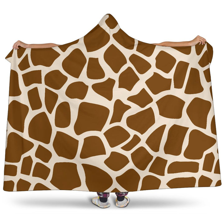 Brown Giraffe Pattern Print Hooded Blanket GearFrost