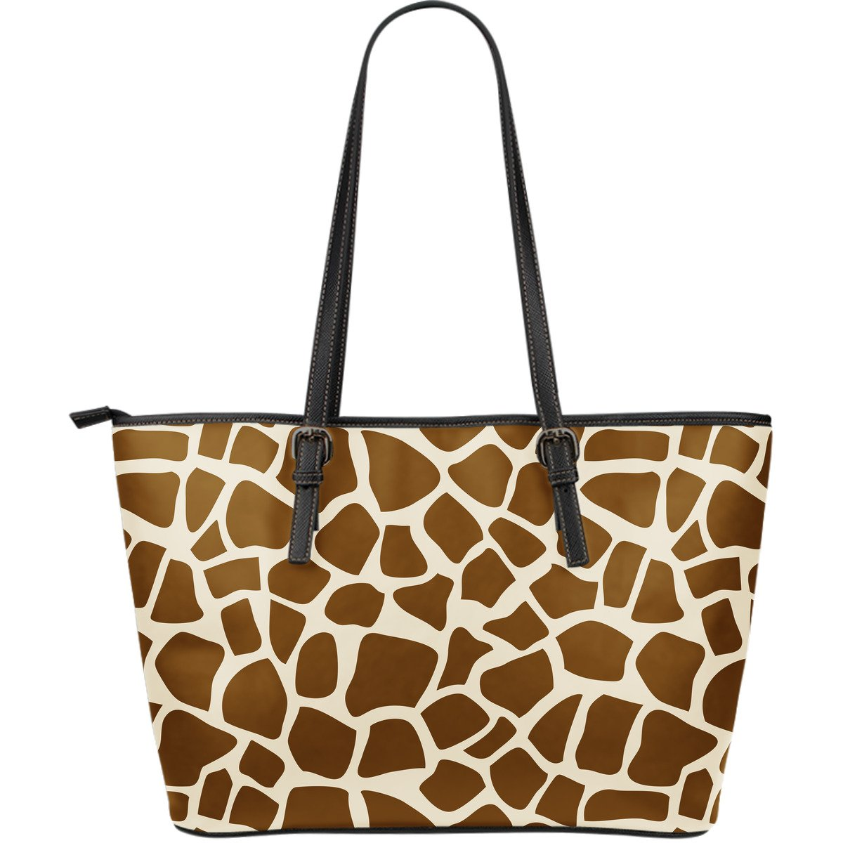 Brown Giraffe Pattern Print Leather Tote Bag GearFrost