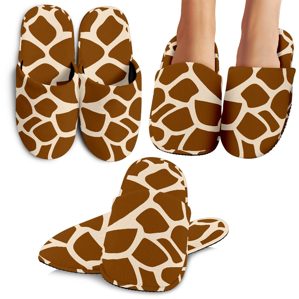 Brown Giraffe Pattern Print Slippers GearFrost