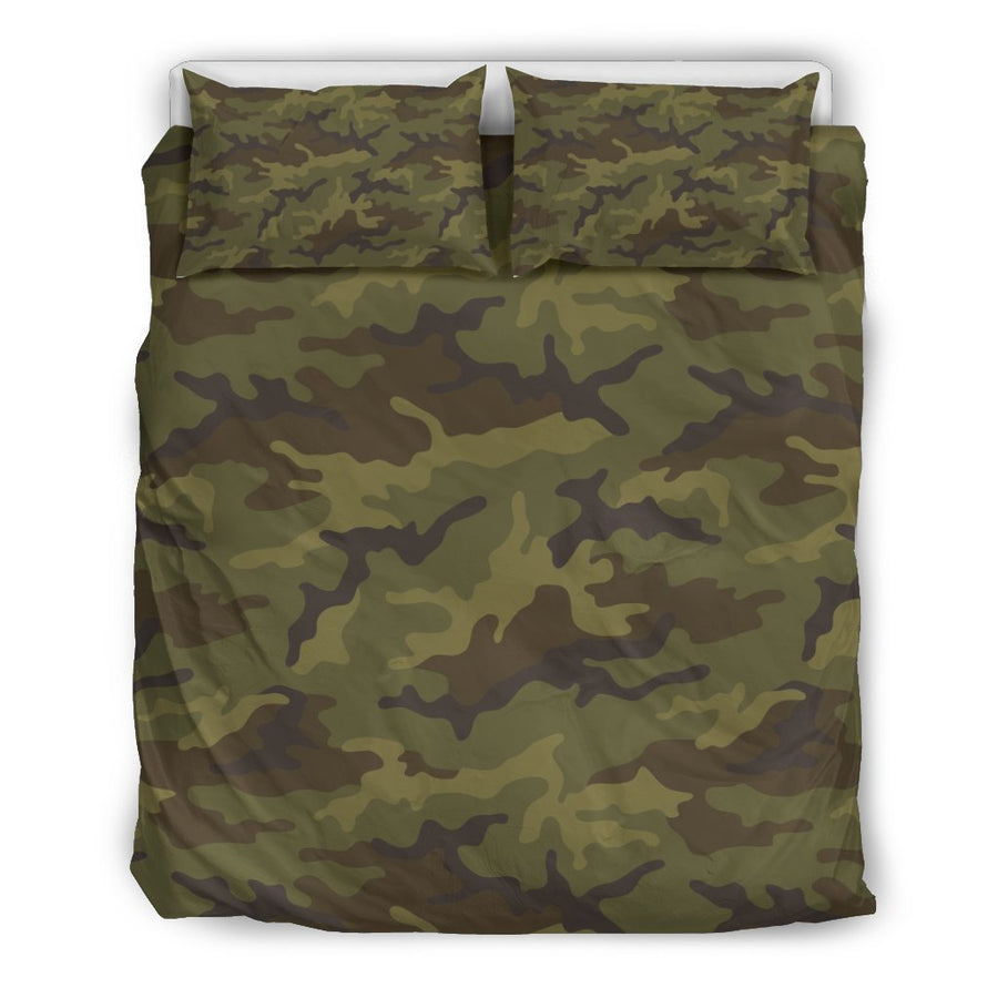 Brown Green Camouflage Print Duvet Cover Bedding Set GearFrost