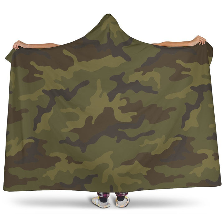 Brown Green Camouflage Print Hooded Blanket GearFrost