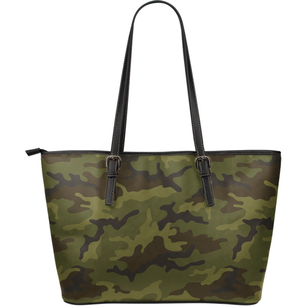 Brown Green Camouflage Print Leather Tote Bag GearFrost