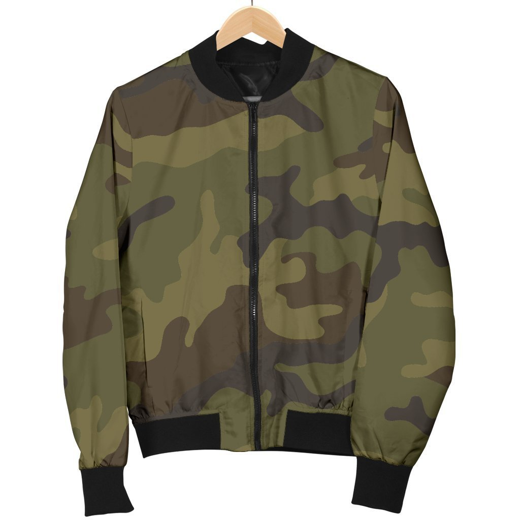 Brown Green Camouflage Print Men's Bomber Jacket GearFrost