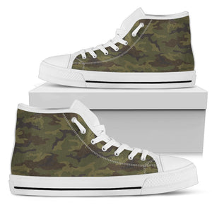 Brown Green Camouflage Print Men's High Top Shoes GearFrost