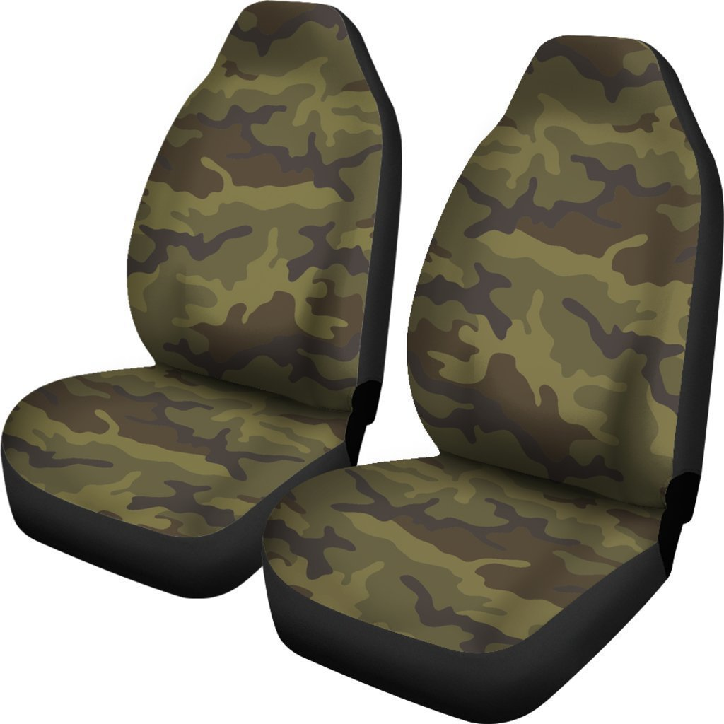 Brown Green Camouflage Print Universal Fit Car Seat Covers GearFrost