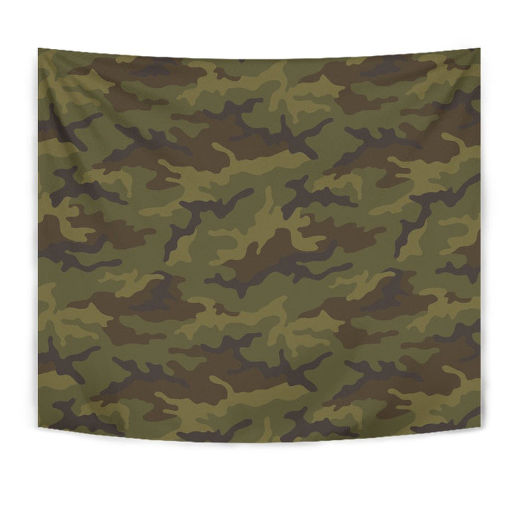 Brown Green Camouflage Print Wall Tapestry GearFrost