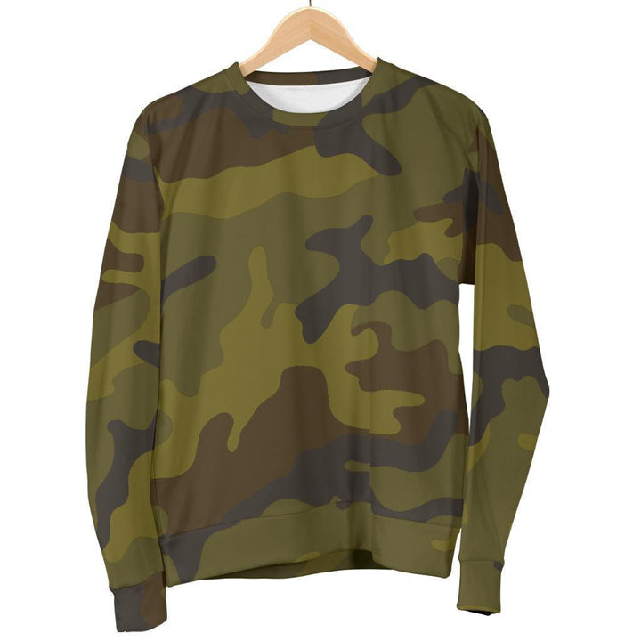 Brown Green Camouflage Print Women's Crewneck Sweatshirt GearFrost
