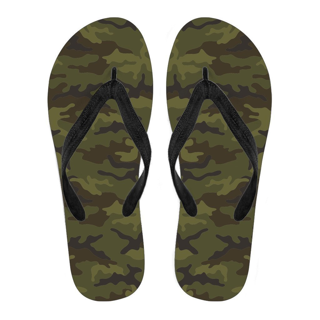 f69312669bb3e4 Brown Green Camouflage Print Women s Flip Flops. Product image 1 ...