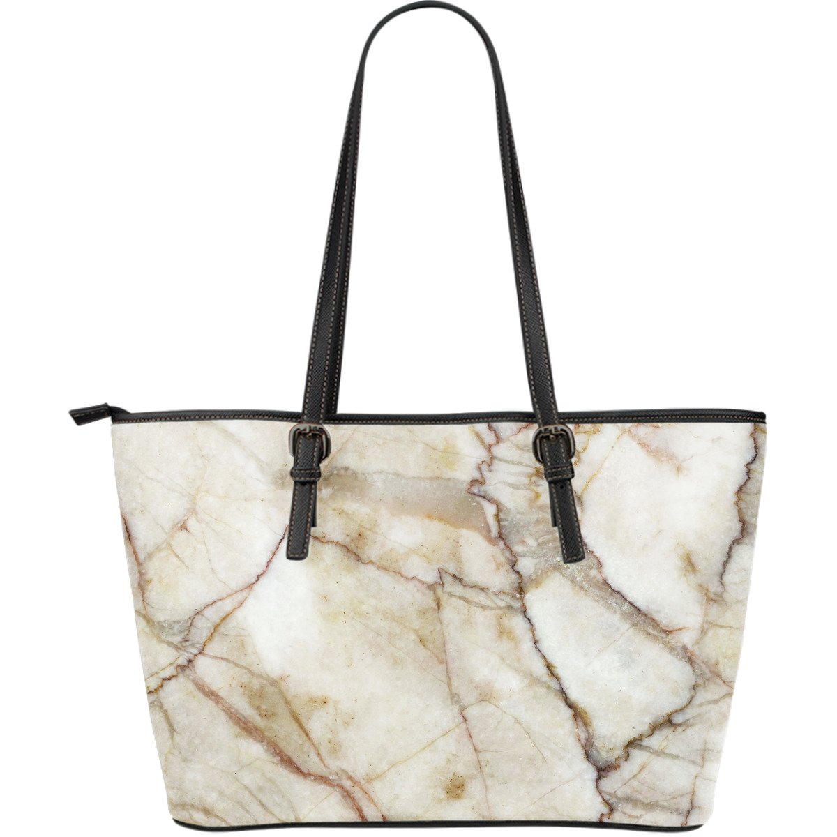 Brown Marble Print Leather Tote Bag GearFrost