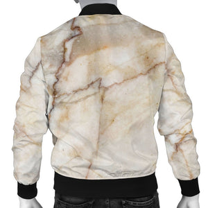 Brown Marble Print Men's Bomber Jacket GearFrost