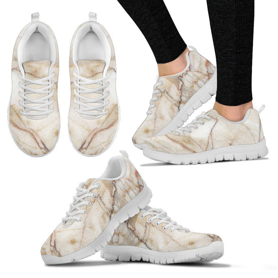 Brown Marble Print Women's Sneakers GearFrost