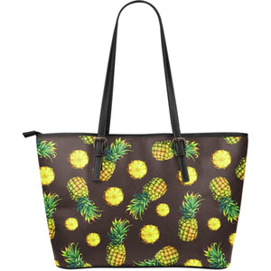 Brown Pineapple Pattern Print Leather Tote Bag GearFrost