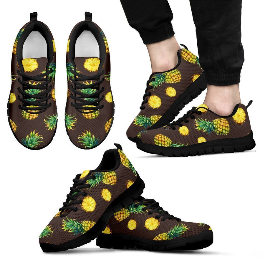 Brown Pineapple Pattern Print Men's Sneakers GearFrost
