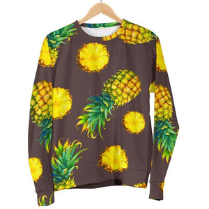 Brown Pineapple Pattern Print Women's Crewneck Sweatshirt GearFrost