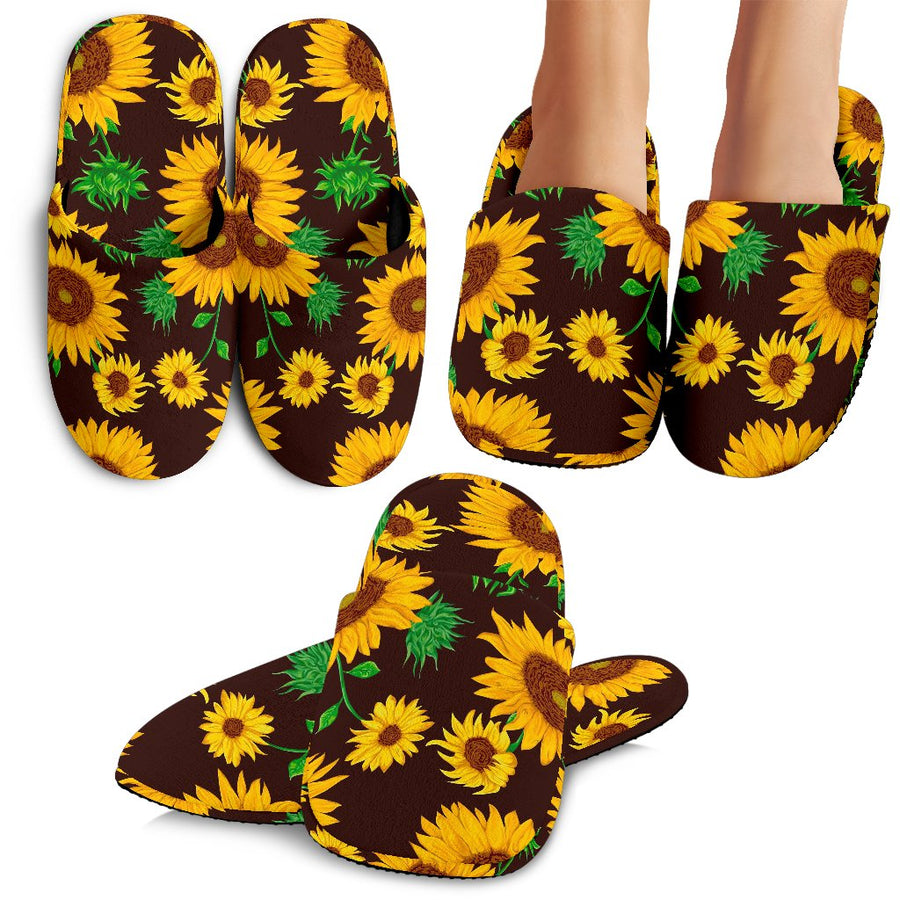 Brown Sunflower Pattern Print Slippers GearFrost