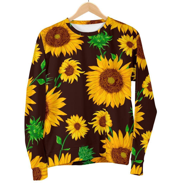 Brown Sunflower Pattern Print Women's Crewneck Sweatshirt GearFrost