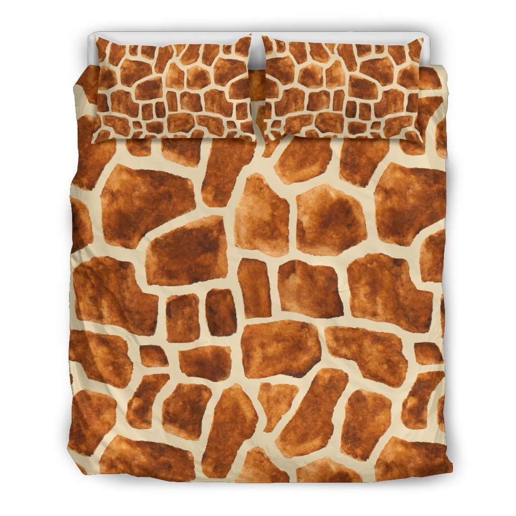 Brown Watercolor Giraffe Pattern Print Duvet Cover Bedding Set GearFrost