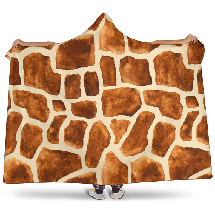 Brown Watercolor Giraffe Pattern Print Hooded Blanket GearFrost