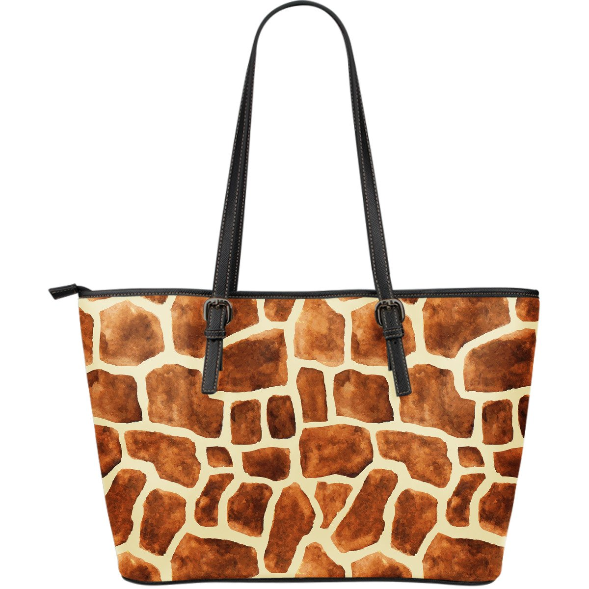 Brown Watercolor Giraffe Pattern Print Leather Tote Bag GearFrost
