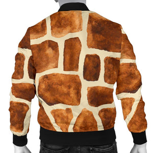 Brown Watercolor Giraffe Pattern Print Men's Bomber Jacket GearFrost