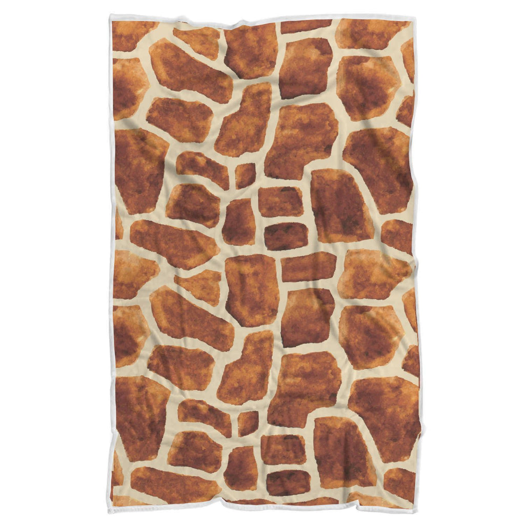 Brown Watercolor Giraffe Pattern Print Sherpa Blanket GearFrost