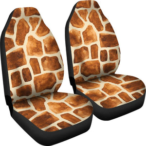 Brown Watercolor Giraffe Pattern Print Universal Fit Car Seat Covers GearFrost
