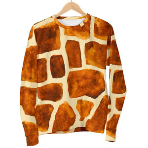 Brown Watercolor Giraffe Pattern Print Women's Crewneck Sweatshirt GearFrost