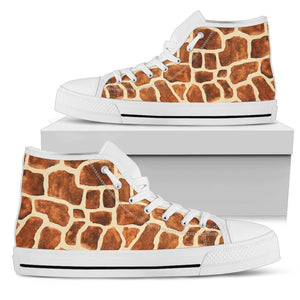 Brown Watercolor Giraffe Pattern Print Women's High Top Shoes GearFrost