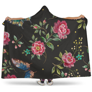 Butterfly And Flower Pattern Print Hooded Blanket GearFrost