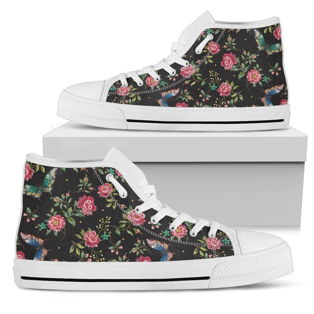 Butterfly And Flower Pattern Print Men's High Top Shoes GearFrost