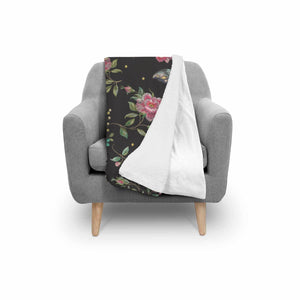 Butterfly And Flower Pattern Print Sherpa Blanket GearFrost