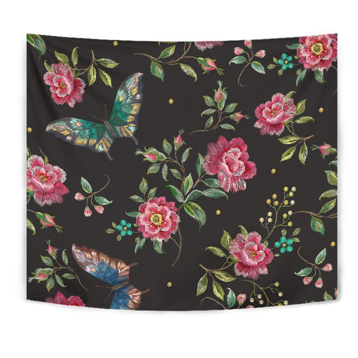 Butterfly And Flower Pattern Print Wall Tapestry GearFrost