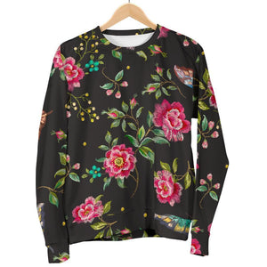 Butterfly And Flower Pattern Print Women's Crewneck Sweatshirt GearFrost