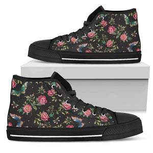 Butterfly And Flower Pattern Print Women's High Top Shoes GearFrost