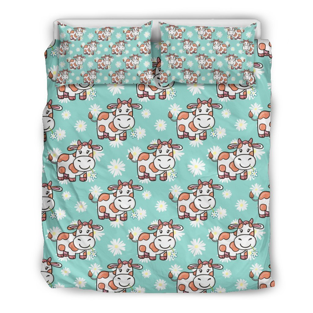 Cartoon Cow And Daisy Flower Print Duvet Cover Bedding Set GearFrost