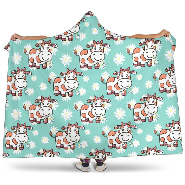 Cartoon Cow And Daisy Flower Print Hooded Blanket GearFrost