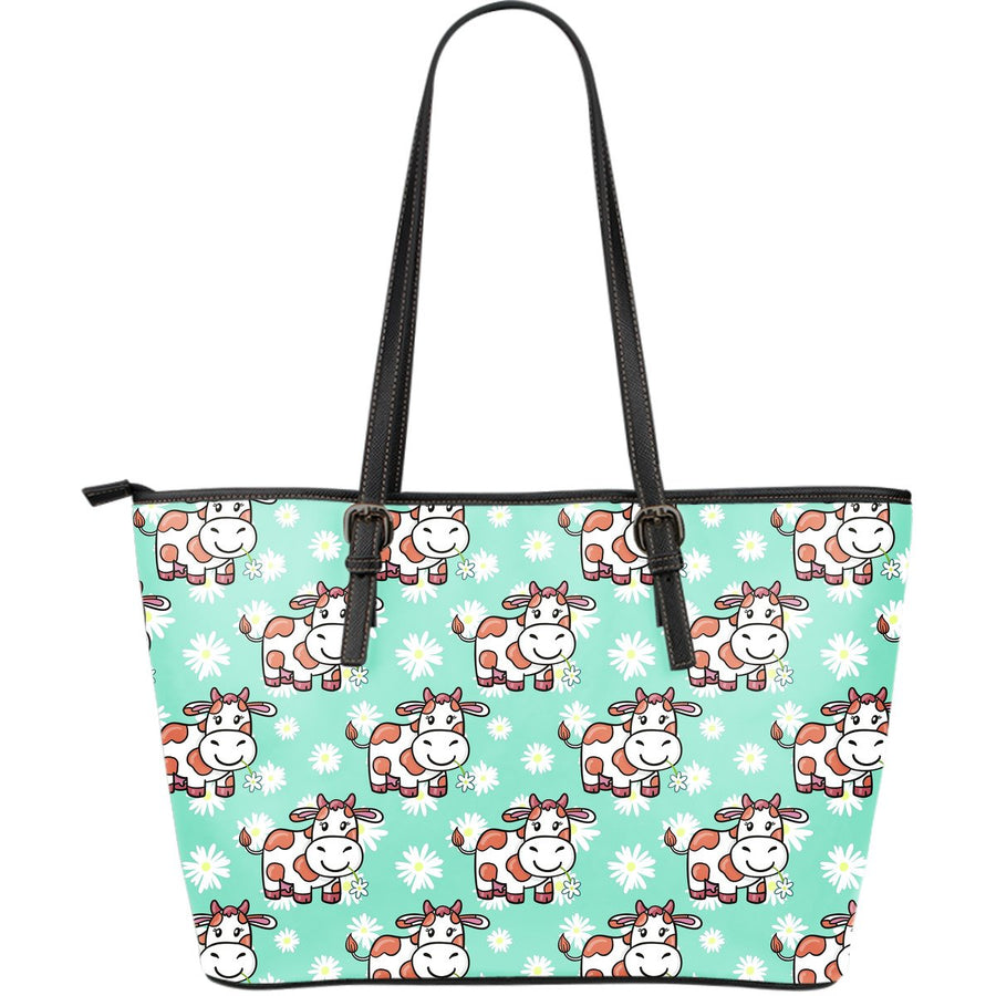 Cartoon Cow And Daisy Flower Print Leather Tote Bag GearFrost