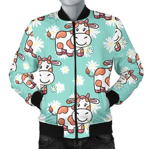 Cartoon Cow And Daisy Flower Print Men's Bomber Jacket GearFrost